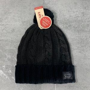 Levi's Black Charcoal Colorblock Ribbed Cuff Pom P